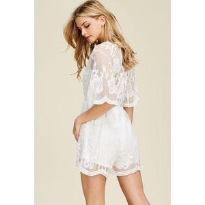 Pants - Lace Romper New Off-White Shorts Lining Sheer Back